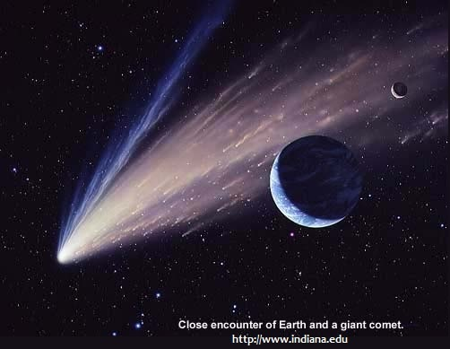 Close encounter of Earth and a giant comet